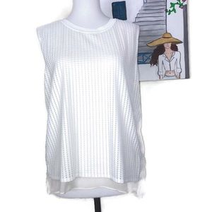 Vince. Off-White Silk Sleeveless Blouse Size L